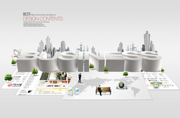 Layered material of modern business city template