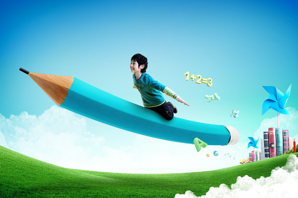 Multiply pencil flying children psd layered