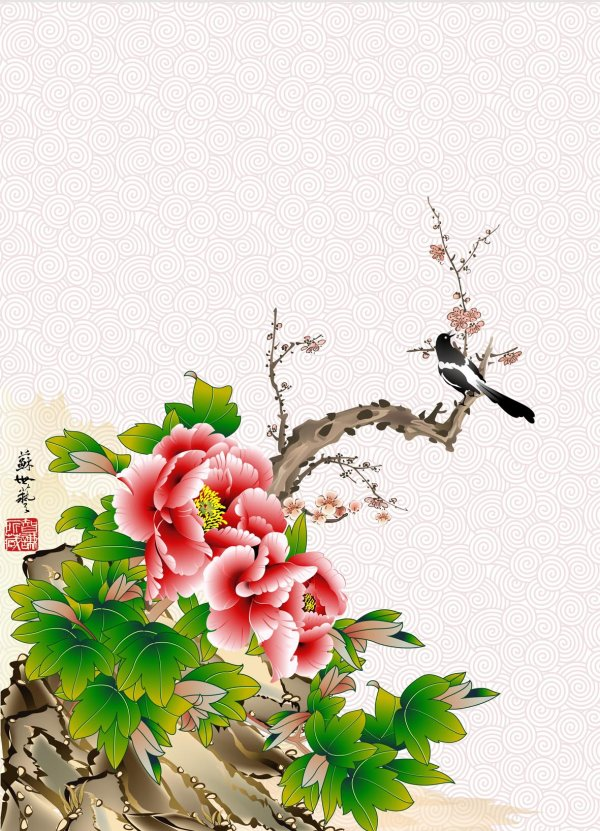Peony Red Plum Ink Figure psd layered material