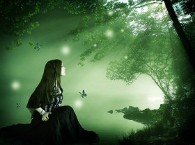 Woman in green forest psd material