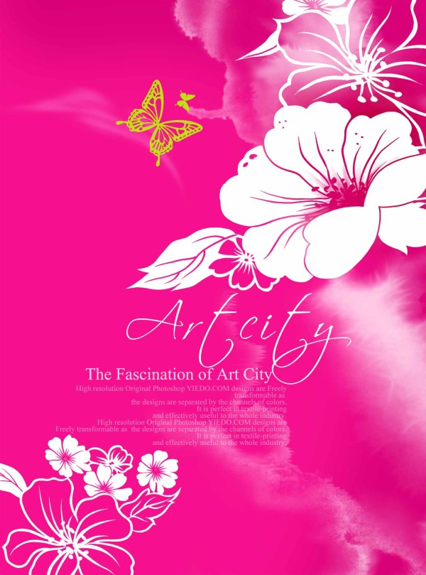 ArtCity hand painted flower PSD layered material  3
