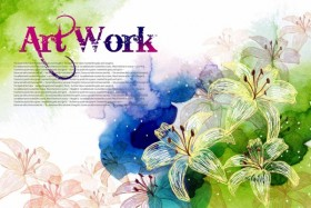 ArtWork hand painted flower PSD layered material