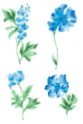 Duo blue watercolor style flowers PSD material