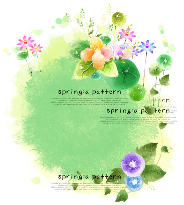 Elegant pattern of spring flowers PSD