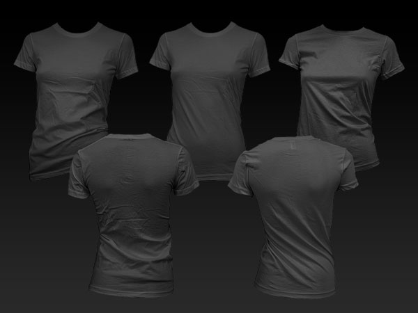 Female models blank trend short sleeved t shirt template (GoMedia produced) psd layered material  1