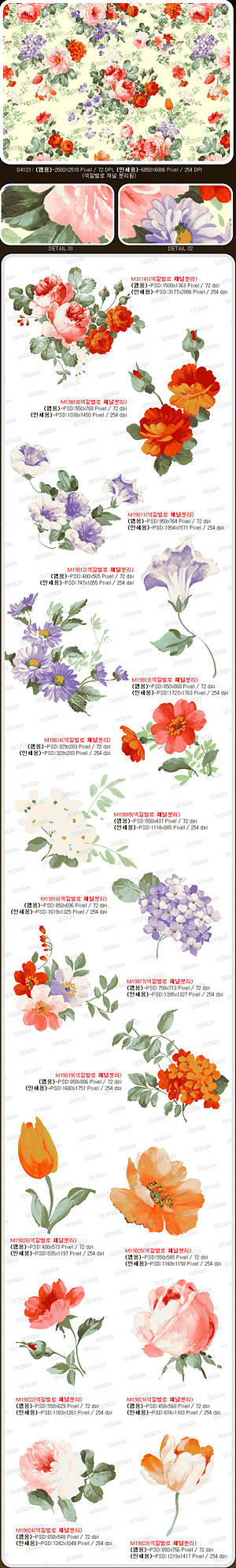 Gorgeous flowers psd layered material