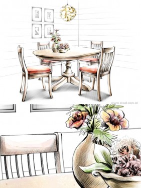 Hand drawn style indoor decoration PSD layered images  26