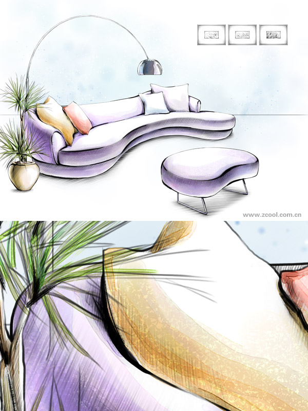 Hand drawn style indoor decoration PSD layered images  39