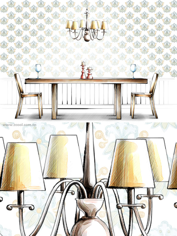 Hand drawn style indoor decoration PSD layered pictures  20