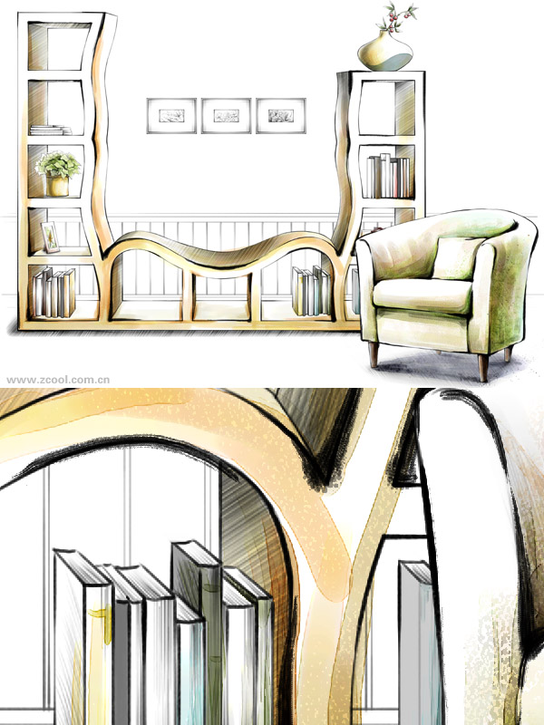 Hand drawn style indoor decoration PSD layered pictures  21