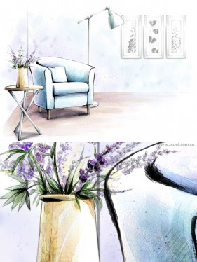 Hand drawn style indoor decoration PSD layered pictures  5