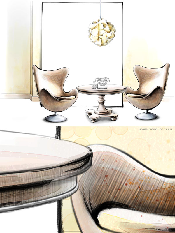 Hand drawn style indoor decoration PSD layered pictures  6