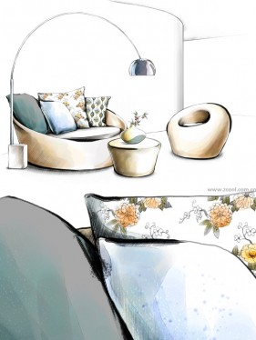 Hand drawn style indoor decorative PSD layered picture  15