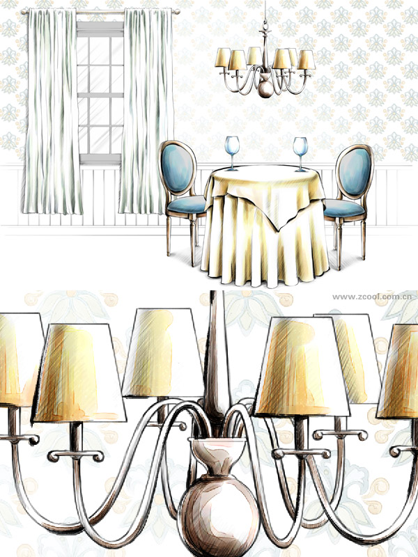 Hand drawn style interior decoration PSD layered picture  28