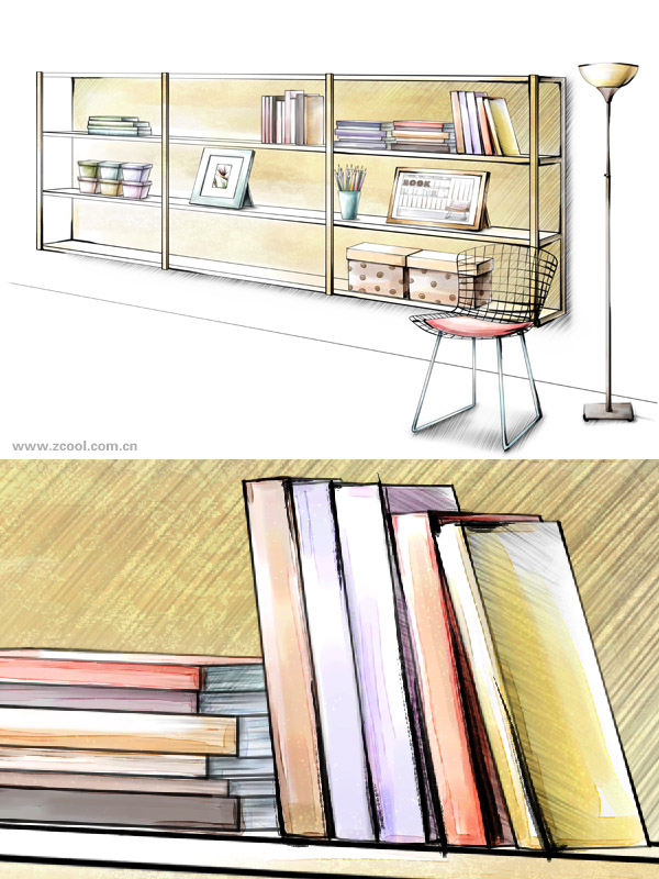 Hand drawn style interior decoration PSD layered picture  38