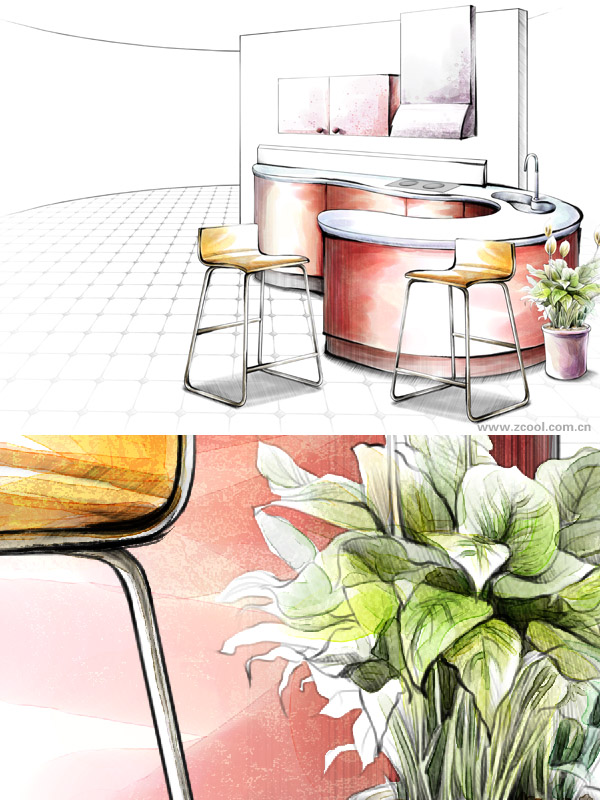 Hand painted style indoor decoration PSD layered pictures of  19