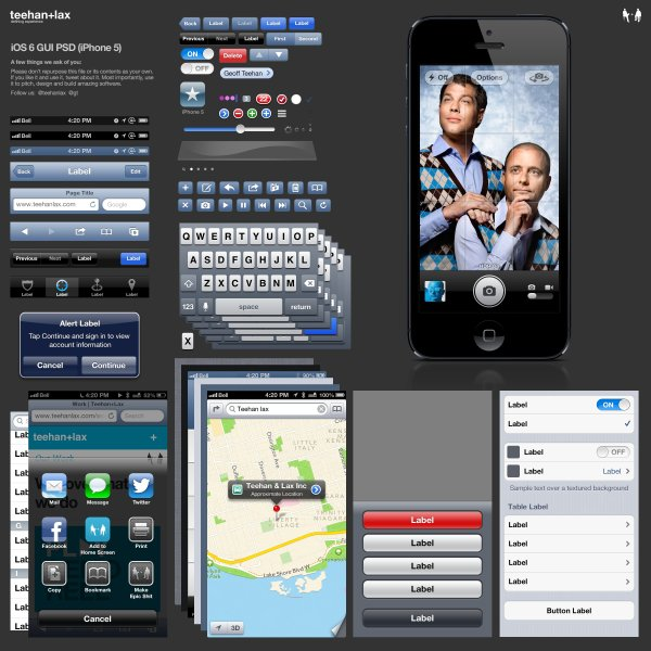 IPhone 5 version of iOS 6 GUI PSD source files