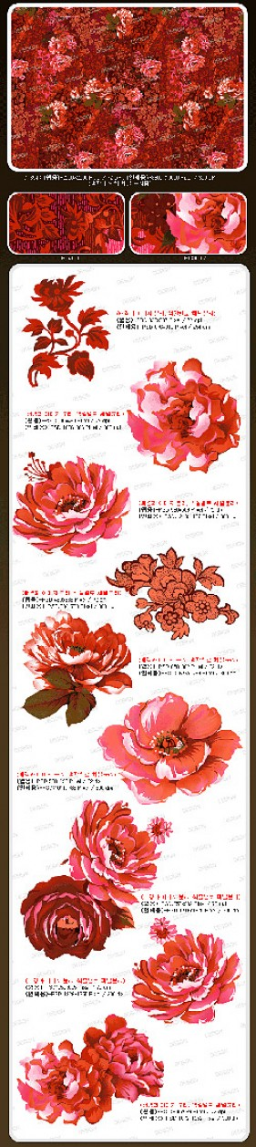 Korea fashion pink flowers psd material