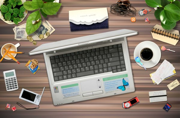 Messy office desktop PSD layered material