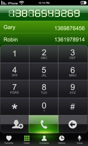 Phone dialing interface psd layered material