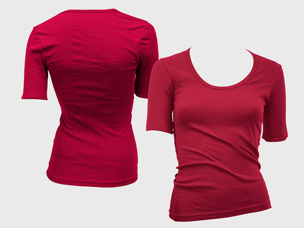 Psd layered material blank trend of female models short sleeved t shirt template (GoMedia produced)  7