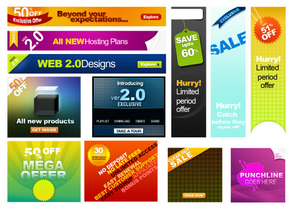 Psd layered material web2.0 web advertising template
