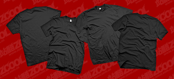 The black blank trends T shirt template psd layered material