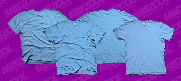 The blue blank trends T shirt template psd layered material