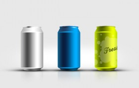 The cans template psd layered material