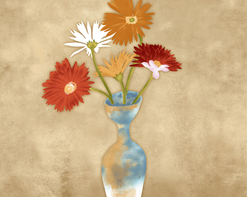 The painting texture vases psd layered material