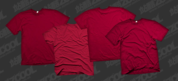 The red blank trends T shirt template psd layered material