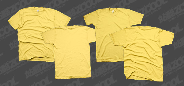 The yellow Blank trend T shirt template psd layered material
