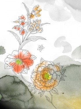Watercolor flowers Series psd layered material
