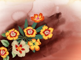Watercolor flowers series psd material
