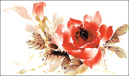 Watercolor style roses layered psd