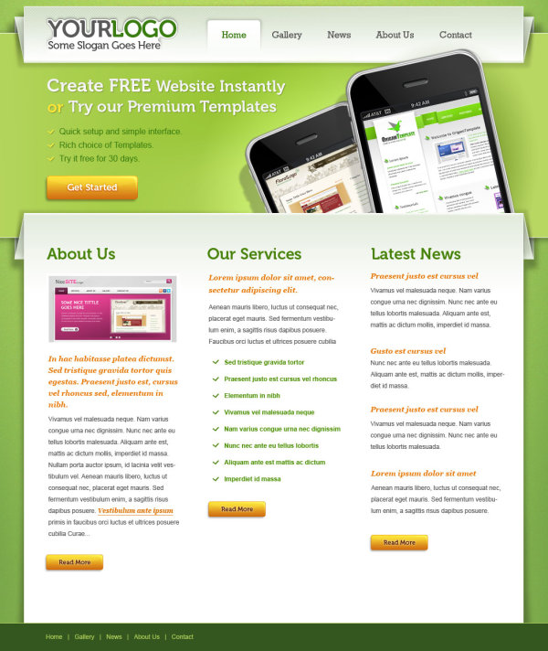 Web design green mobile web PSD layered