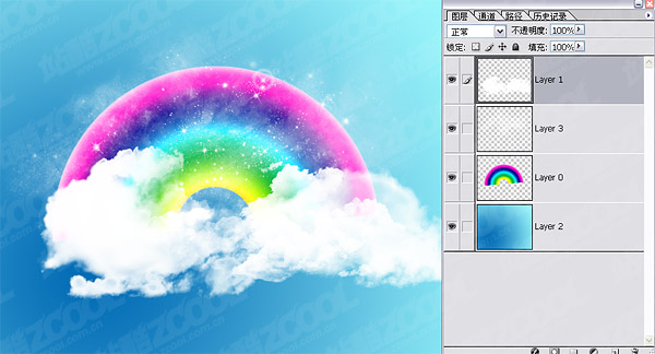 Psd layered material lovely rainbow clouds wallpaper