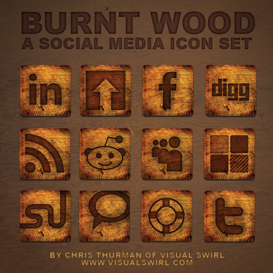 12 models burning pieces of wood style WEB2.0 and SNS sites icon
