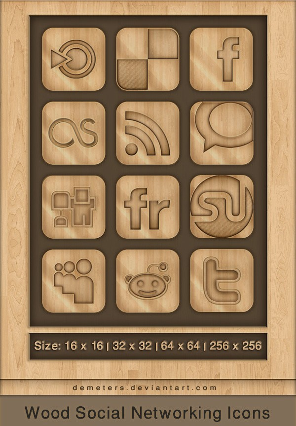 12 models woodcut style WEB2.0 and SNS sites icon