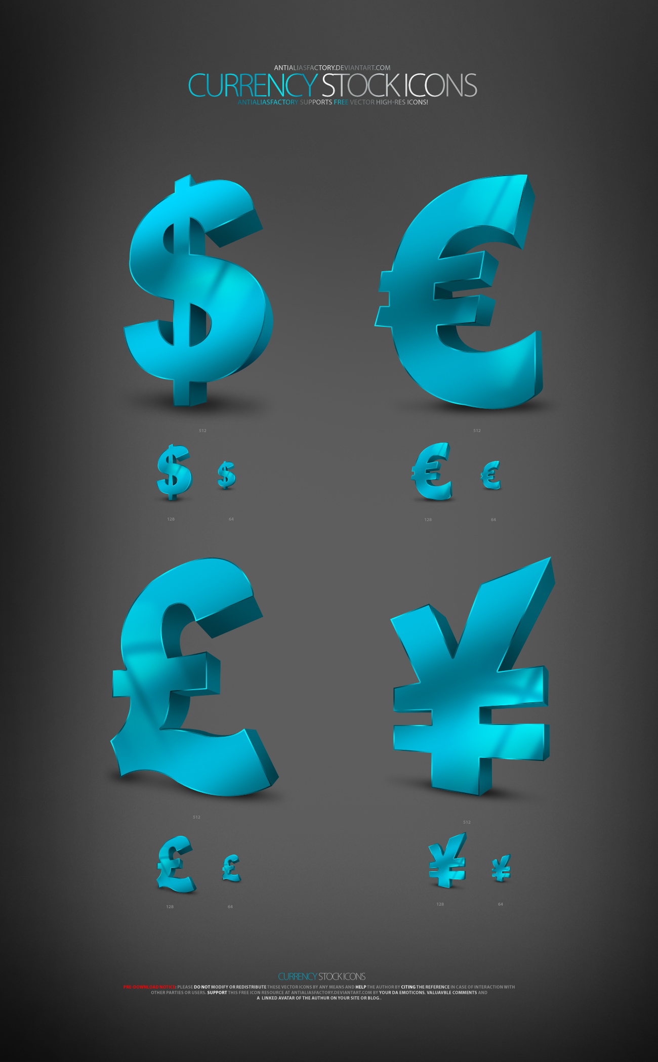 4 currency symbols (3D crystal texture of the icon)