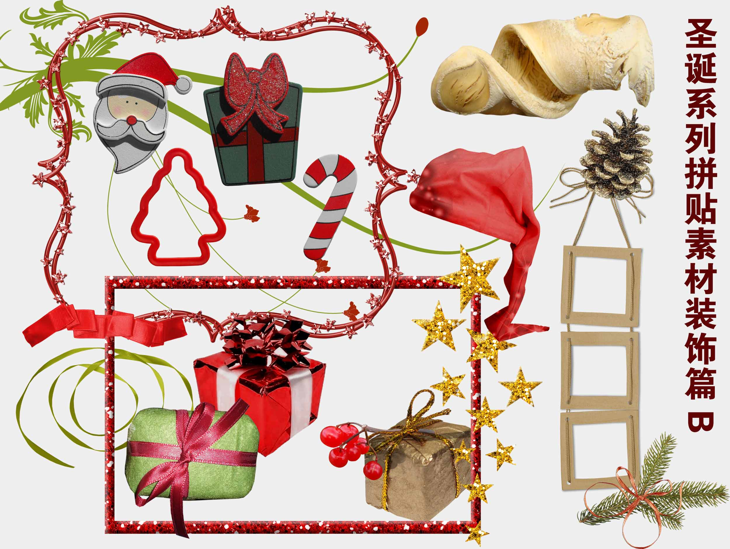 Christmas Articles.4 Designer Christmas Series Of Collage Material Decorative