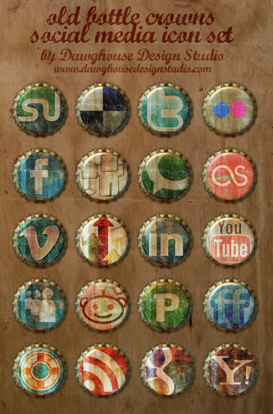 Famous the WEB2.0 with SNS sites LOGO (old soda caps texture PNG icon)
