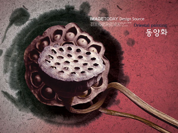 Ink rhyme withered lotus psd layered material  3