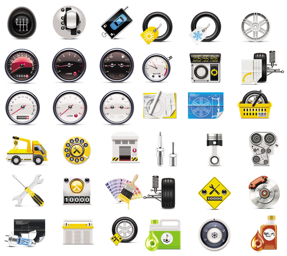 Instrument tires tools icons   vector material