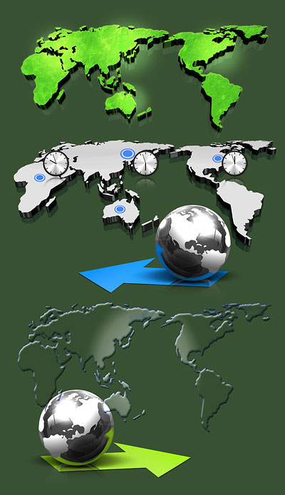 Psd layered material 3D map of the world