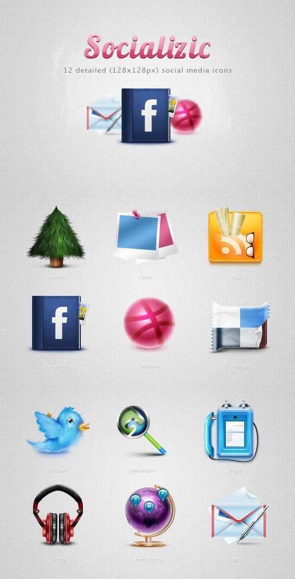 Realistic style the SNS icon vector material