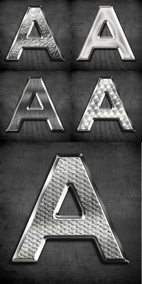 The metal texture alphabetic psd layered material