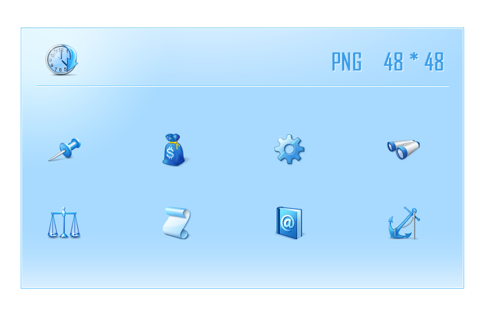 Web design icon clock; folder; download; settings; icon; png icon; purse; paper; telescope; lookup; phonebook