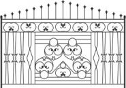European pattern style iron gate fence 02 vector material