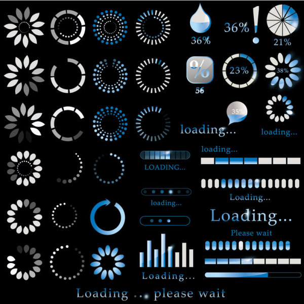 Percentage of pages commonly used elements 02 vector material